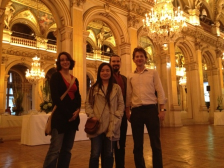 Anna, Yanjun, Sergii and Damien (left to right) attending the ceremony in the city hall of Paris