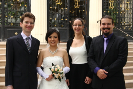 Some lab members on the wedding day: Damien, Yanjun, Anna and Sergii