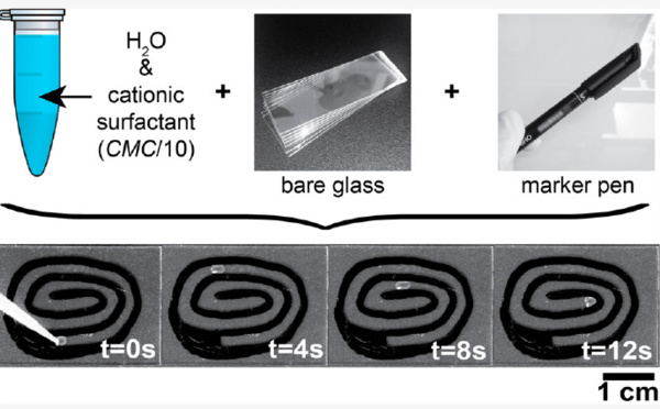 "Our new paper ""Self-propelled water drops on bare glass substrates in air: fast, controllable and easy transport powered by surfactants"" published in Langmuir!"